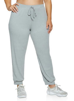 Plus Size Rib Knit Joggers - 3850062123501
