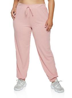 Plus Size Rib Knit Joggers - 3850062123501