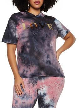 Plus Size Love Foil Tie Dye Hooded Top - 3850062124370