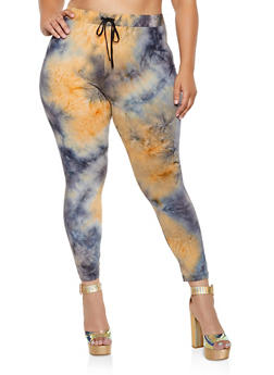 Plus Size Soft Knit Tie Dye Pants - 3850062124371