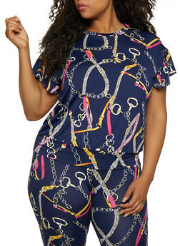 Plus Size Status Print Short Sleeve Top - 3850062124415