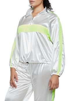 Plus Size Color Block Satin Windbreaker Jacket - 3850062125164