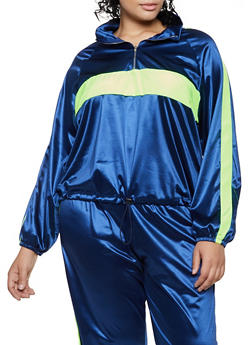 Plus Size Color Block Satin Windbreaker Jacket - 3850062125164
