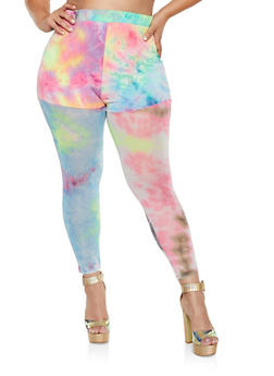 Plus Size Tie Dye Mesh Leggings - 3850062125387