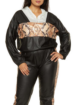 Plus Size Snake Print Detail Hooded Top - 3850062125389