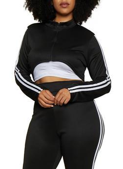 Plus Size Varsity Stripe Cropped Track Jacket - 3850062126454