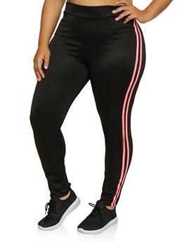 Plus Size Varsity Stripe Track Pants | 3850062126455 - NEON PINK - 3850062126455