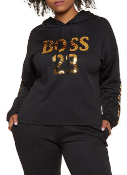 Plus Size Quilted Boss 23 Sweatshirt - 3850062129016
