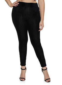 Plus Size Shadow Stripe Pants - 3850062709339