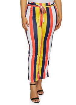 Plus Size Striped Soft Knit Palazzo Pants - 3850074019223
