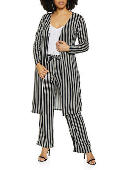 Plus Size Striped Soft Knit Duster   3850074019224 - 3850074019224