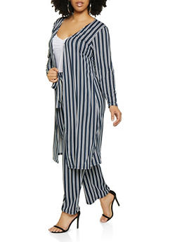 Plus Size Striped Soft Knit Duster | 3850074019224 - 3850074019224