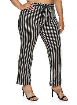 Plus Size Soft Knit Tie Waist Striped Pants - 3850074019225
