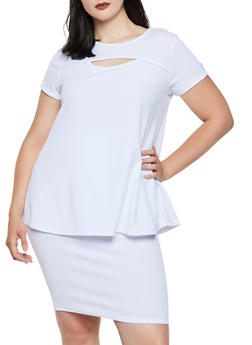 Plus Size Keyhole Textured Knit Top - 3850074019226
