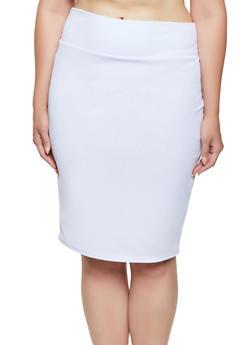 Plus Size Midi Textured Knit Pencil Skirt - White - Size 3X - 3850074019227