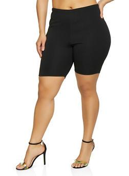 Plus Size Textured Knit Bike Shorts - 3850074019229