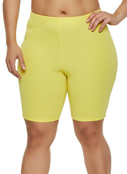 Plus Size Textured Knit Bike Shorts - 3850074019229