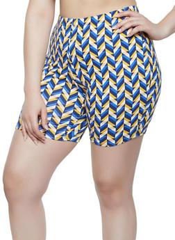 Plus Size Soft Knit Geometric Print Bike Shorts - 3850074019231
