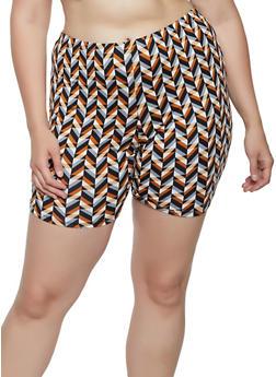 Plus Size Multi Print Shorts