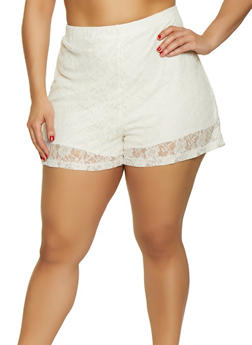 Plus Size Pull On Lace Shorts - 3850074286138