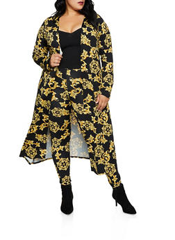 Plus Size Long Sleeve Baroque Print Duster - 3850074287092