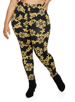 Plus Size Baroque Print Leggings - 3850074287093