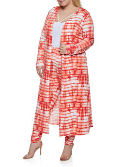 Plus Size Tie Dye Long Sleeve Duster - 3850074287101
