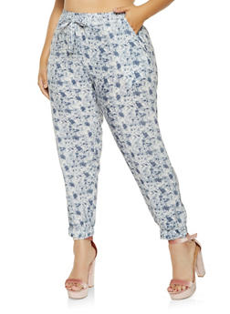 Plus Size Printed Joggers - 3861038349129