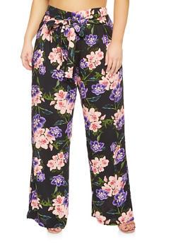 Plus Size Floral Palazzo Pants - 3861038349230