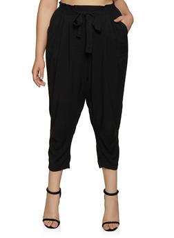 Plus Size Button Tie Front Pants - 3861051063417
