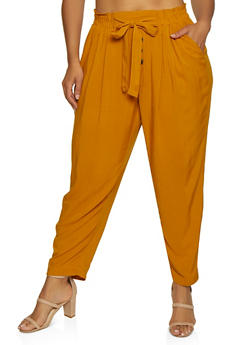Plus Size Button Tie Front Pants - 3861051063417