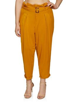 Plus Size Buckle Tie Waist Pants - 3861051064308