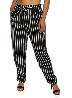 Plus Size Tie Front Striped Pants - 3861054260484