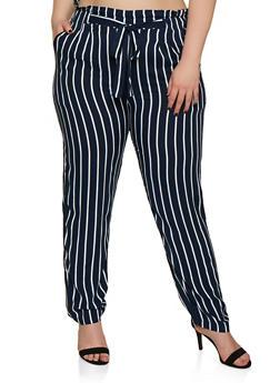 Plus Size Tie Front Striped Pants - 3861054260484