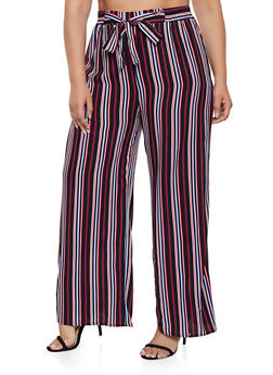 Plus Size Tie Front Striped Palazzo Pants | 3861054261212 - 3861054261212