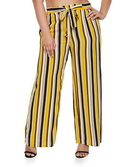 Plus Size Tie Front Vertical Stripe Palazzo Pants - 3861054261213