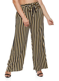 Plus Size Tie Front Striped Palazzo Pants | 3861054261214 - 3861054261214