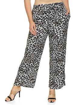 Plus Size Cheetah Print Palazzo Pants - 3861054261215