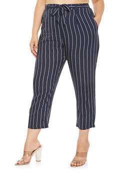 Plus Size Striped Tie Front Pants - 3861054266897