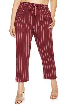 Plus Size Striped Tie Front Pants - 3861054266897