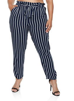 Plus Size Paper Bag Waist Striped Pants - 3861054267048