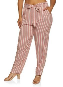Plus Size Paper Bag Waist Striped Pants - 3861054267048