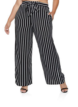 Plus Size Vertical Stripe Palazzo Pants | 3861054267096 - 3861054267096