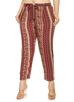 Plus Size Printed Tie Front Pants - 3861054268977