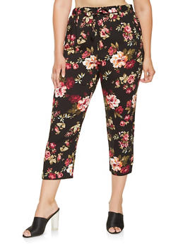 Plus Size Floral Pants - 3861054269771