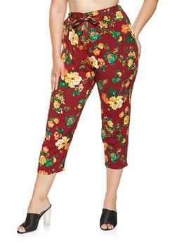 Plus Size Floral Pants - 3861054269771