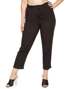 Plus Size Solid Tie Front Pants - 3861054269993