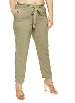 Plus Size Solid Tie Front Pants - 3861054269993