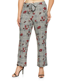 Plus Size Printed Palazzo Dress Pants - 3861056570001
