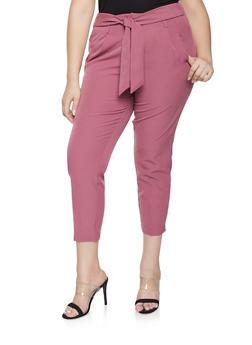 Plus Size Tie Front Dress Pants - 3861056570022